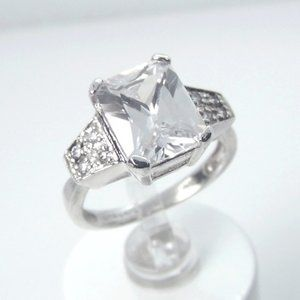 3.60ct Radiant cut Solitaire SILVER Ring